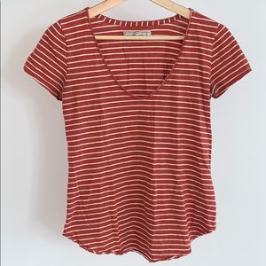Striped low neck tee